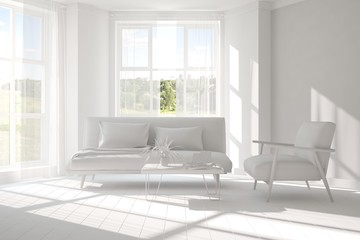 White minimalist room with sofa and armchair. Scandinavian interior design. 3D illustration