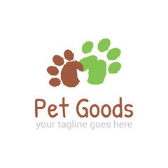 Vector logo template for pet shop,  veterinary clinic. Creative idea for animal feed. Illustration of traces of  pets with cat silhouette. EPS10.
