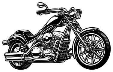 Vintage monochrome motorcycle on white bakcground