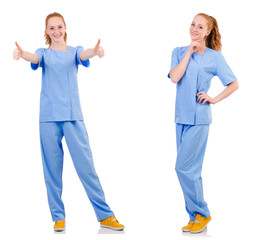 Pretty doctor  in blue uniform isolated on white