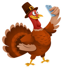 Thanksgiving Day. Turkey in a hat making selfie. Cartoon styled vector illustration. Elements is grouped. No transparent objects. Isolated on white.