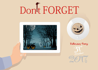 Halloween party on digital tablet screen and coffee cup on table