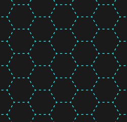 Simple hexagon net structure formed of bright cyan dashed lines on dark background, seamless vector pattern