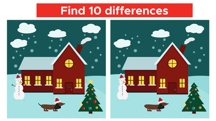 Find differences game with Christmas house and funny dog - New Year symbol. Vector illustration.
