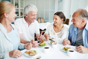 Senior companions having talk in cafe while enjoying tasty dessert