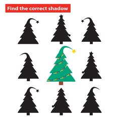 Find the correct shadow of Christmas tree. Education game for preschool kids. Vector illustration.