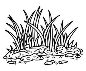 grass / cartoon vector and illustration, black and white, hand drawn, sketch style, isolated on white background.