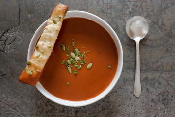 Tomato Soup with pumpkin Seed Bread stick