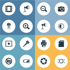 Vector Illustration Set Of Simple Photography Icons. Elements Movable Camcorder, Inkjet, Registration And Other Synonyms Camera, Zoom And Memory.