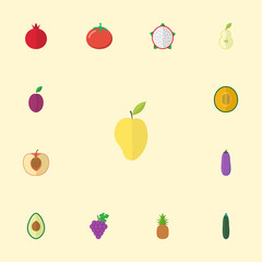 Flat Icons Garnet, Mango, Love Apple And Other Vector Elements. Set Of Dessert Flat Icons Symbols Also Includes Cluster, Melon, Cucumber Objects.
