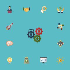 Flat Icons Coin, Bulb, Support And Other Vector Elements. Set Of Projects Flat Icons Symbols Also Includes Thinking, Startup, Group Objects.
