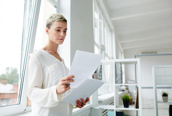 Waist-up portrait of concentrated young manager wearing white shirt standing at window and studying documents, interior of modern open plan office on background