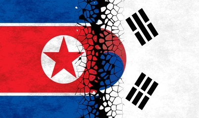 Flags of North and South Korea separated in the middle