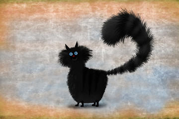 Black Fluffy Cat Standing On Brown Background