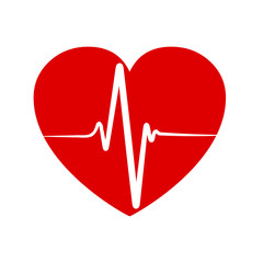Pulse in heart - stock vector