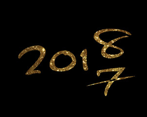 Golden glitter isolated hand writing font word year 2018