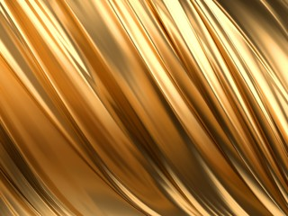 Gold Wave Abstract Background 3D Rendering