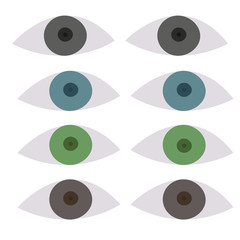 Various color types of eyes, vector set
