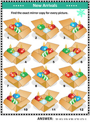 Christmas or New Year themed visual puzzle with packaged ornaments: Match the pairs - find the exact mirrored copy for every picture. Answer included.