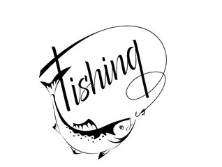 logo fishing in a contour style