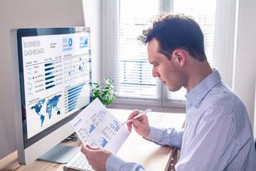 Businessman working with KPI dashboard metrics, BI graph, financial report