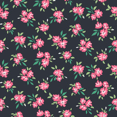 Dark floral pattern. Vector flower seamless background.