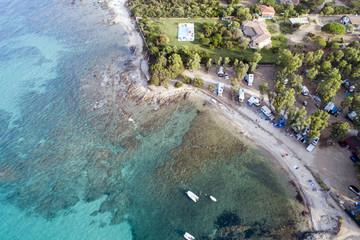 Vista aerea della spiaggia di San Teodoro in Sardegna. Il mare la costa e le spiagge più belle