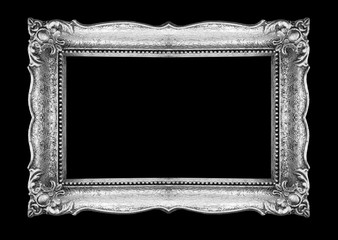 Retro Silver Picture Frame on black background