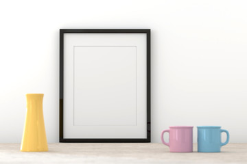 Blank picture frame templates in a living room wall, 3D render