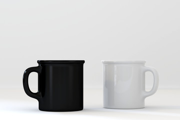 black and white mug on white background, 3D render