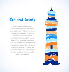 Cartoon design of isolated drawn silhouette of lighthouse, beacon. Marine symbol