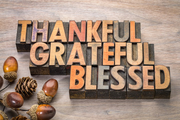 thankful, grateful, blessed - Thanksgiving theme