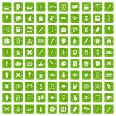 100 paint school icons set grunge green