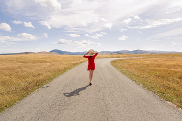 girl in the red dress and hat standing with his back to the field with a road and mountains