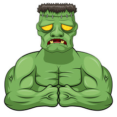Frankenstein angry cartoon. Vector illustration