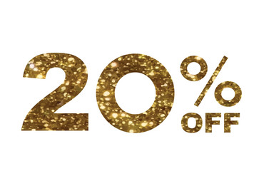 Luxury golden glitter twenty percent off special discount word text