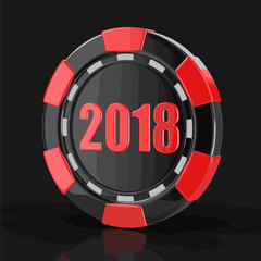 chip of casino 2018. Image with clipping path