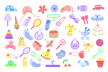Set different objects for the baby. The sticker sheet in a child theme.