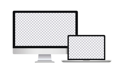 Realistic Computer, Laptop, in imac, macbook style with Blank Wallpaper Screen Isolated on Transparent Background. Use for Template. Set of Device Mockup. Separate Groups and Layers. Easily Editable.