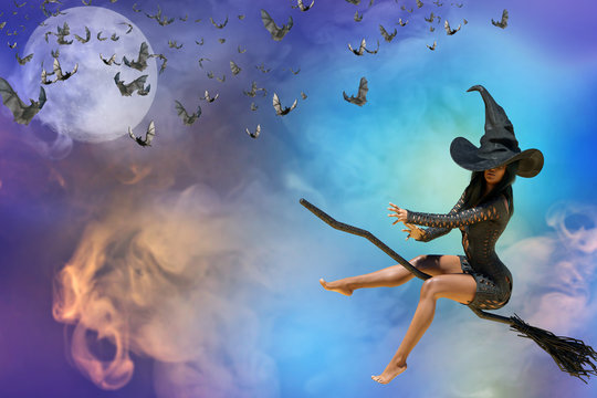 3D Illustration of beautiful witch woman Halloween render