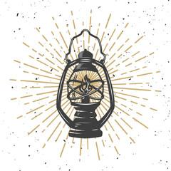 Vintage kerosene lamp with light lines.