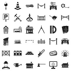 Barrier icons set, simle style