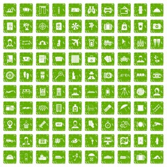 100 passport icons set grunge green