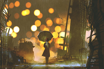 rainy night scene of woman holding umbrella standing alone in abandoned city, digital art style, illustration painting