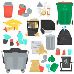 Garbage color flat icons set
