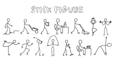 Set stick figure people. Simple men and women black pictogram