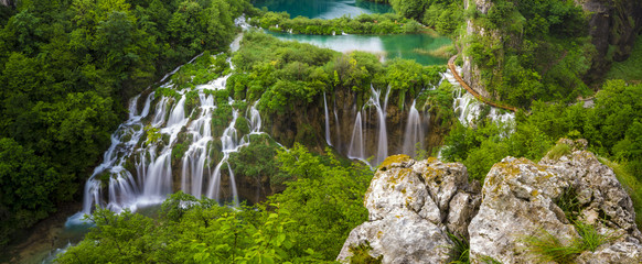 Waterfalls in National Park Plitvice Lakes,sunrise over waterfal