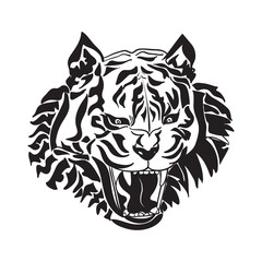 Line art of tiger head on white background
