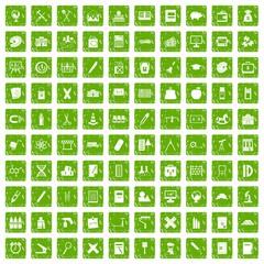 100 pensil icons set grunge green
