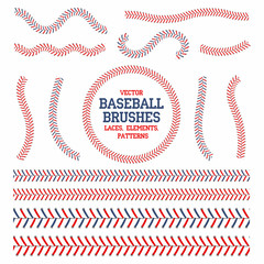 Baseball laces set. Baseball seam brushes. Red and blue stitches, laces for baseball ball decoration